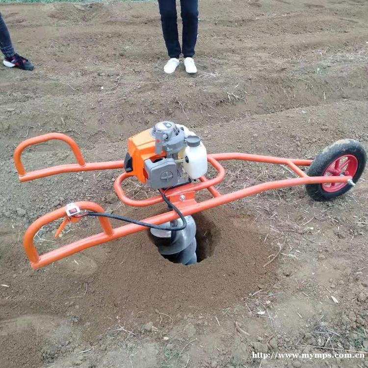 手推式独轮施肥钻眼机    单人植树挖坑机  多功能手推式挖